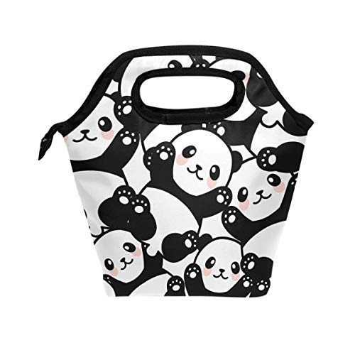 Wamika Cute Panda Lunch Bag Tote Lunchbox Handbag, Black White Women Insulated Food Container Gourmet Cooler Warm Pouch For School Work Office