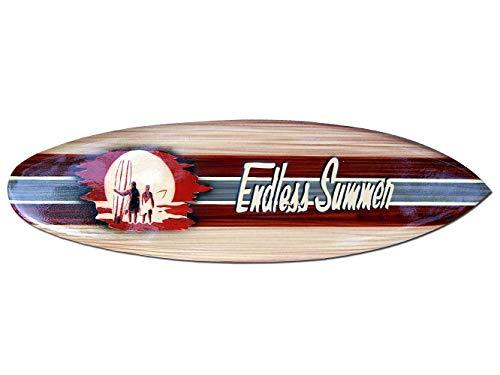 Tabla de surf de madera hecha a mano con suspensión en la parte trasera. Diseño aerógrafo brillante. Longitud: aprox. 50 cm, ancho: aprox. 13-14 cm.