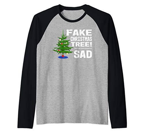 Fake Christmas Tree! Sad - Trump Meme Funny Holiday Raglan Baseball Tee