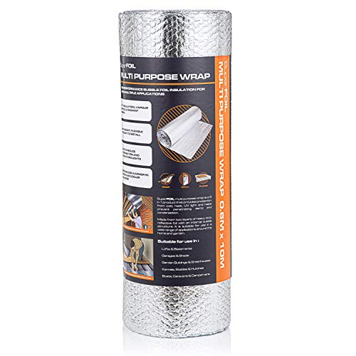 SuperFOIL SFBA MP Thermo-Luftpolster-Isolierung, 60 cm x 5 m/10 m, doppelschichtig, wärmereflektierend, für den Einsatz in Dächern, Wänden und Böden, zur Verbesserung der Effizienz