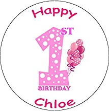Novelty Personalised 1st Birthday Pink Balloons 7.5