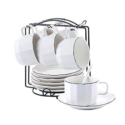 YOLIFE Cup Saucer Set Porcelain Tea Cup Set, Coffee Cup Saucer Set 8 oz China Tea Cup with Display Stand (Black Rim)