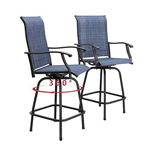 PatioFestival Patio Swivel Bar Stools Outdoor High Bistro Stools Height Chairs All Weather Garden Furniture Bar Dining Chair,Set of 2