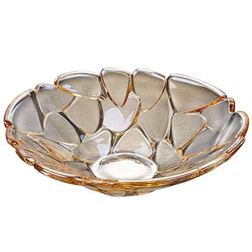 XZJJZ Plato de fruta – Elegante tazón grande de cristal para servir, centro de mesa para el hogar, oficina, decoración de boda, frutas, aperitivos, postres, servidores