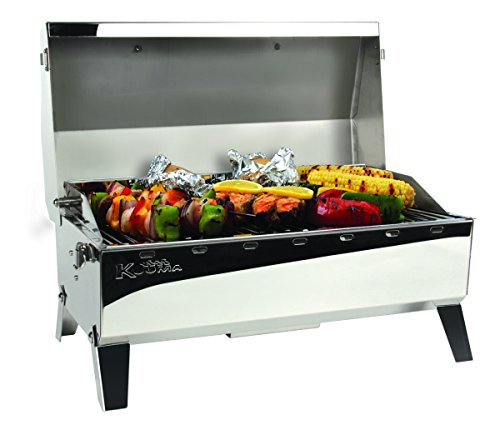Kuuma Premium Stainless Steel Mountable Charcoal Grill w/Inner Lid Liner by Camco -Compact Portable Size Perfect for Boats, Tailgating and More - Stow N Go 160' (58110)