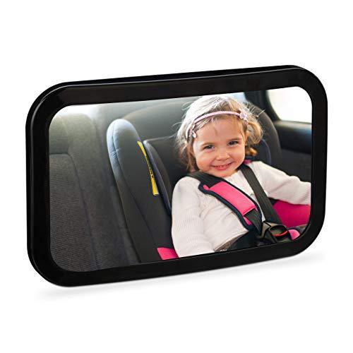 Relaxdays Babyspiegel Auto, bruchsicher, 360° schwenkbar, Halterung für Kopfstütze, ABS-Kunststoff, Rückspiegel, schwarz