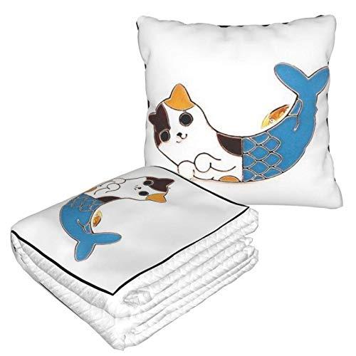 AEMAPE Purrmaid Car Pillow Blanket Sofa Blanket, Travel Pillow Blanket, Warm and Thick, Airplane Plush Neck Pillow Thrown for Sleep