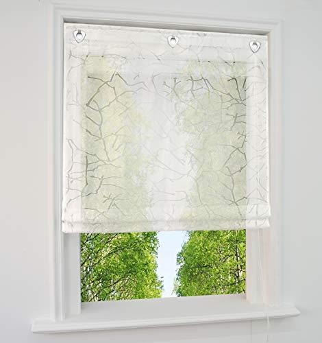 BAILEY JO Ösenrollo mit U-Haken Burnt-Out Technology Raffrollo Voile Halbtransparent Vorhang (BxH 120x140cm, Weiß)