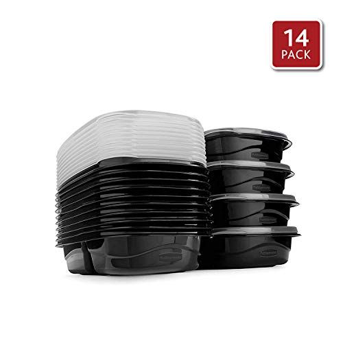Rubbermaid TakeAlongs Food Storage Containers with Divided Base14Pack 37 Cup Set of 7 Black | Great for Meal Prep Lunch for Adults amp Kids Bento Box Style | Reusable amp Stackable