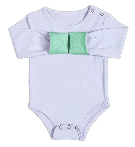 Munchy Mitts Geïntegreerde Teething Mitt Baby Grow Vest 3 tot 6 Maanden Wanten Mint Groen