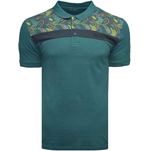 Lambretta Herren Poloshirt, Paisleymuster, kurzärmelig, Größe XXL, Blaugrün