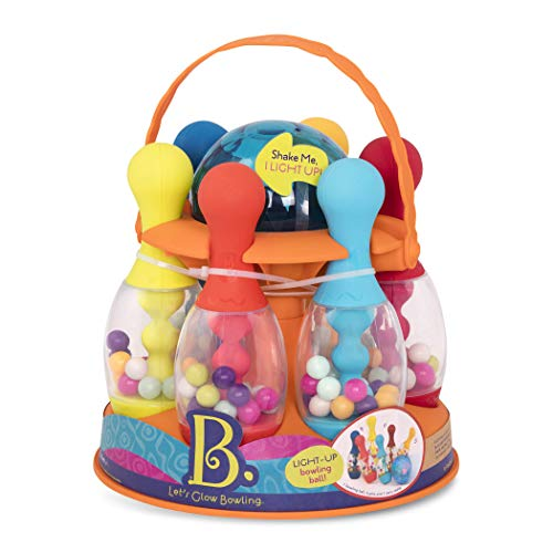 B. Toys – Let s Glow Bowling! – Multicolored Six Pin Toy Bowling Set with Flashing Light-Up Ball & Carrying Caddy for Kids Ages 2+