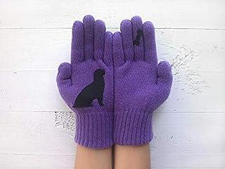 Dog Gloves, Purple Gloves, Animal Gloves, Valentine's Day Gift, Dog Lady Gift