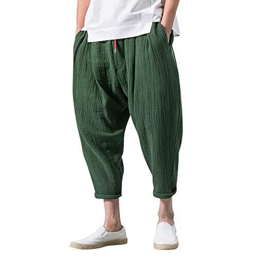 GreatestPAK Herren einfarbig Streetwear Tunnelzug wadenlange Hosen Haremshosen Kurze Hosen,Armeegrün,EU:XL(Tag:3XL)