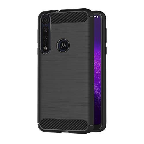 AICEK Compatible Moto One Macro Hülle, Schwarz Silikon Handyhülle für Motorola Moto One Macro Schutzhülle Karbon Optik Soft Hülle (6,2 Zoll)