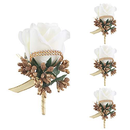 HUAESIN 4 Stück Rose Boutonniere Bräutigam Hochzeit Ansteckblume Hochzeitsanstecker Blumen Weiß Brosche für Bräutigam Braut Brautjungfer Gäste Herren Damen Tanzparty
