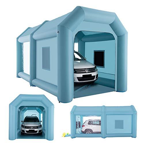 Orion Motor Tech Cabina de Pintura Inflable Portátil Cabina de Estacionamiento de Pintura Grande con 2 Habitaciones con Sistema de Filtración de Aire y 2 Bombas Eléctricas (6 x 3 x 3m)