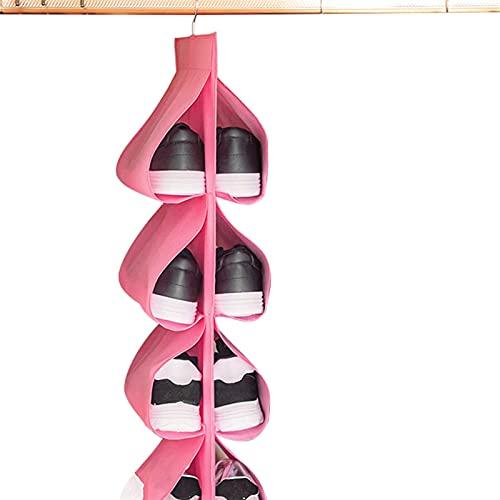 ZZRU Scarpiera organizer da appendere alla scarpa, da viaggio, per la casa, per armadio, porta e parete, borsa per scarpe con gancio (colore: rosa)