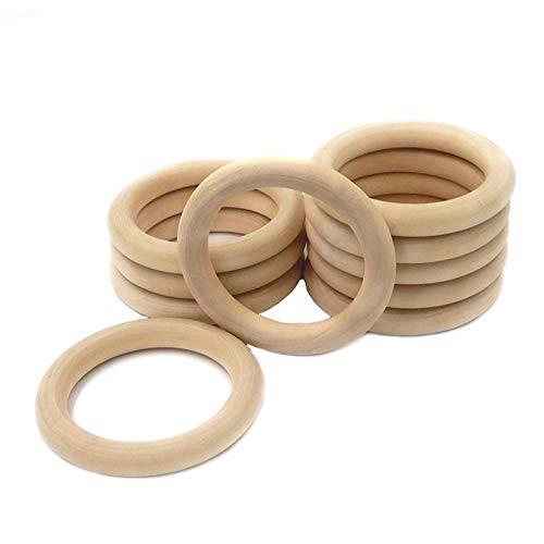 IWILCS Holzring, 12 Stück Holzring Hölzern, Natürliche Holz Ringe, Holzring Hölzern für Basteln, Holzringe Zum Basteln für Babys Kinderpflege Holz Armband DIY Handwerk(70MM)