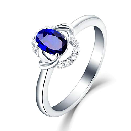 Daesar Wedding Ring for Women 18ct Gold Ring Band 0.97ct Oval Cut Blue Sapphire with White Diamond Anniversary Rings White Gold Ring Size 10.5