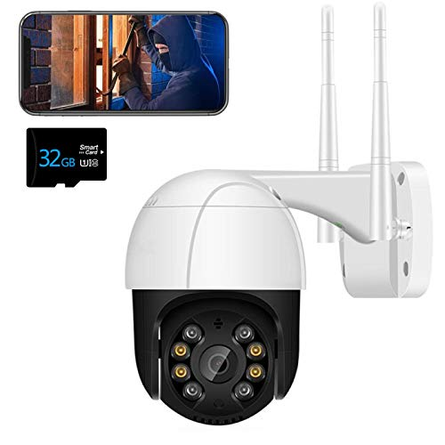 Cámara IP WiFi para Exteriores Cámara de vigilancia PTZ 3MP Detección Humana Similar a AI Visión Nocturna en Color Audio bidireccional IP66 a Prueba de Agua Soporte Tarjeta TF