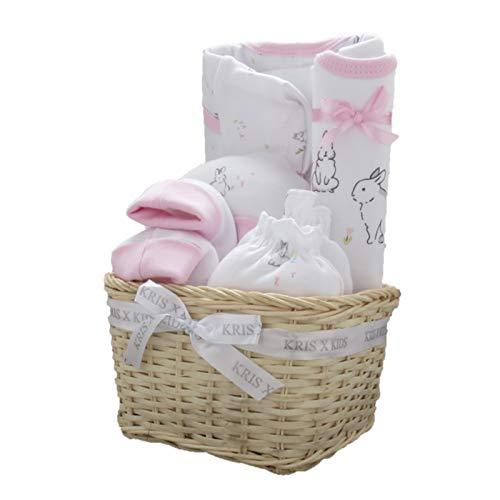 Set de regalo para niño o niña de bebé, body, patucos, gorro y álbum de fotos/marco por Kris X Kids rosa Pink Basket
