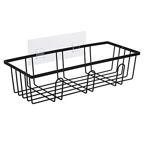 HFTD Organizador de estantes de baño con Ganchos para Colgar Cepillo de Esponja de Afeitar, Estante de Pared para Inodoro, baño y Cocina Multiusos (Color: Negro)