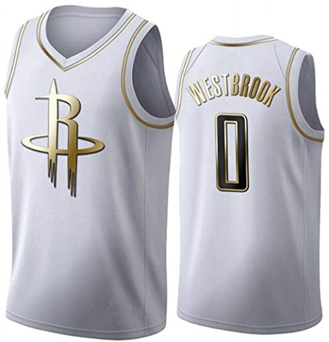 WSUN Maglia da Basket NBA da Uomo, Rockets NBA 0# Russell Westbrook Maglia da Basket Maglia da Fan NBA Maglietta Senza Maniche Fresca E Leggera,B,M(170~175CM/65~75KG)
