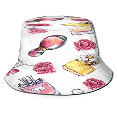 YZBEDSET Sombrero Pescador Unisex,Vintage Perfume Flores Belleza Y Moda,Plegable Sombrero de Pesca Aire Libre Sombrero Bucket Hat para Excursionismo Cámping De Viaje Pescar