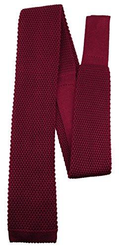 Blick. elementum - hochwertige Strickkrawatte in bordeaux einfarbig Uni - Krawatte 100% Seide