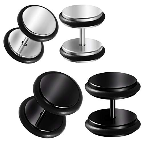 BIG GAUGES 2 Pairs Steel Black Anodized 16g Gauge 1.2mm 00 g 10 mm 1/2 inch (12mm) Fake Plugs Piercing Illusion Ear Cheater Lobe BG4122