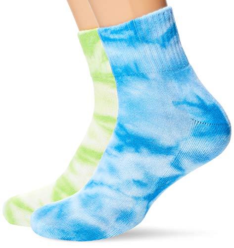 Urban Classics Unisex Tie Dye Short 2-Pack Socken, green/blue, 43-46