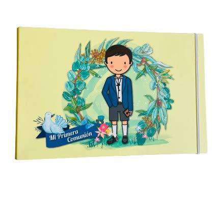 Album Comunion beige niño libro de firmas fotos recuerdos y detalles del evento