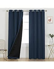 Deconovo Grommet 100% Blackout Curtains with Total Black Liner Double Layer Thermal Insulated Room Darkening Energy Saving Window Drapes for Bedroom Living Room