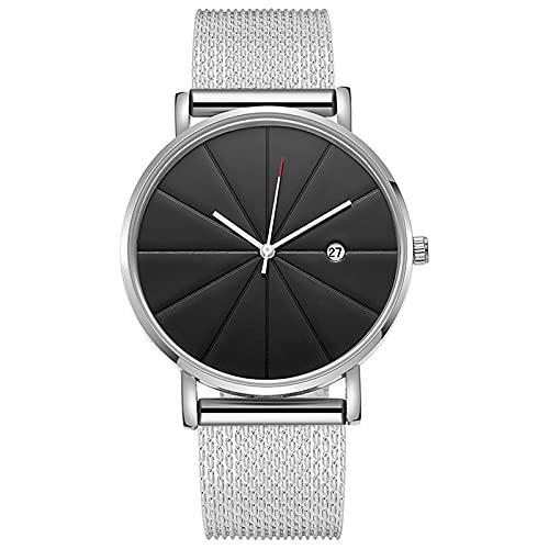 D-Rings Reloj de pulsera analógico para hombre y mujer, resistente al agua, de cuarzo, con correa de reloj ultra plana, de cuero y metal, regalo para mujeres y hombres (B5)