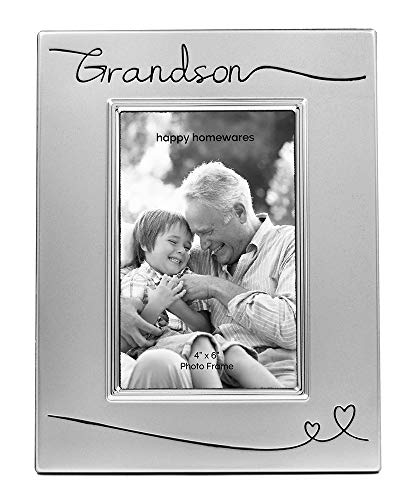 """Haysom Interiors Beautiful Two Tone Silver Plated Grandson 4"""" x 6"""" Picture Frame with Black Velvet 
