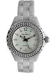 Ceramic Wrist Watch with Crystal Silver Bezel and White Link Bracelet