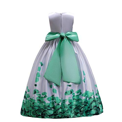 IBTOM CASTLE Fiore Ragazze Estivo Abito Principessa Pageant Vestito da Cerimonia per la Damigella Floreale Matrimonio Carnevale Verde 10-11 Anni