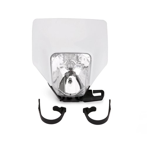 JFG RACING White Universal 12V / 35W / H4 Motorbike Halogen Headlight Head Lamp Light Fairing Street Fighter Mask For Motocross Enduro Supermoto