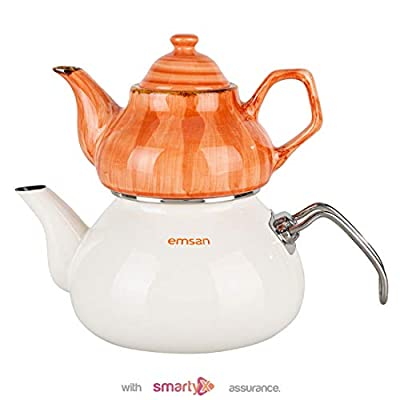Emsan Porcelain Infuser Turkish Teapot - 18/10 Stainless Steel Nostalgic Retro Samovar Kettle Midi Size 2 Lt (Orange)