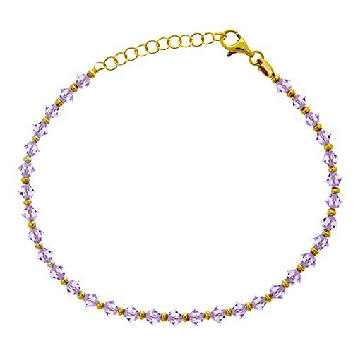 Córdoba Jewels   Pulsera en Plata de ley 925 bañada en oro con diseño Amatista Swarovski Gold