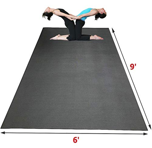 SISYAMA Extra Large Workout Mat 9' x 6' x 5mm Group Partner Aerial Yoga Mat Dance Barefoot Training Living Room Home Gym Flooring