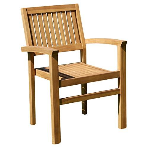 ASS ECHT Teak Design Gartensessel Miami Gartenstuhl Sessel Holzsessel Gartenmöbel Stapelstuhl Stapelsessel Teakholz sehr robust stapelbar