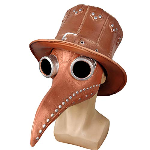 ABEQW Halloween Maske Pest Schnabel Maske Halloween Dampfmaske Krähe Schnabel Maske, geeignet für Männer und Frauen-Bronze Silber Nagelmaske