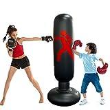 Saco de Boxeo de Pie Inflable,Saco de Arena de Columna Inflable 160cm PVC Fitness,para Niños y Adultos Ejercicio y Alivio del Estrés (Black)