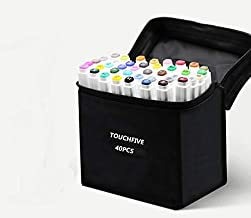 TOUCHFIVE Alcohol Markers 40 Color Animation Manga Set,Dual Tip, Brush & Chisel, Sketch Marker Set for Kids (White)