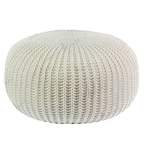 XBCDX Hand Knitted Round Pouf Ottoman,cable Style Cotton Braided Rope Floor Ottomans Comfortable Seat Footstool-white 50x50x30cm(20x20x12inch)