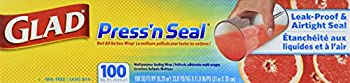 Glad Sealable Plastic Wrap Press n Seal with Griptex 100 sq ft 33.8YD x 11.8IN  Packaging May vary