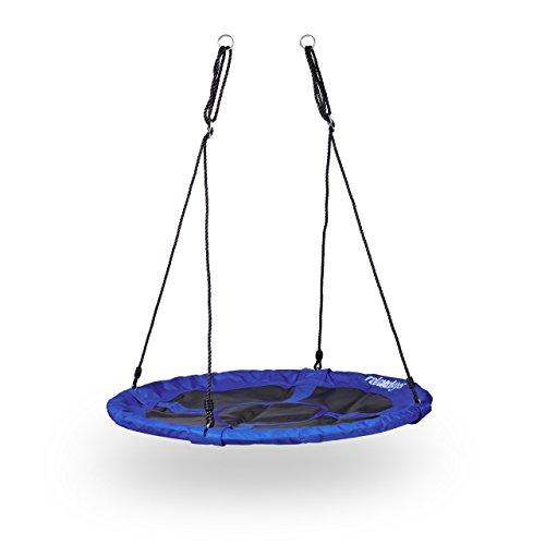 Relaxdays Nestschaukel rund bis 100 kg, geschlossene Sitzfläche, für den Garten, HBT: 150 x 110 x 110 cm, dunkelblau