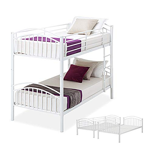 Panana Metal Single Bunk Bed Twin Sleeper Frame 3FT with Ladder Bedroom Steel Bedstead for Kids Teenagers Adult,Can split into 2pcs 3FT Beds (White)